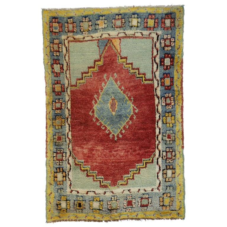 Foyer Rugs For Sale : Memphis design style vintage turkish oushak rug kitchen