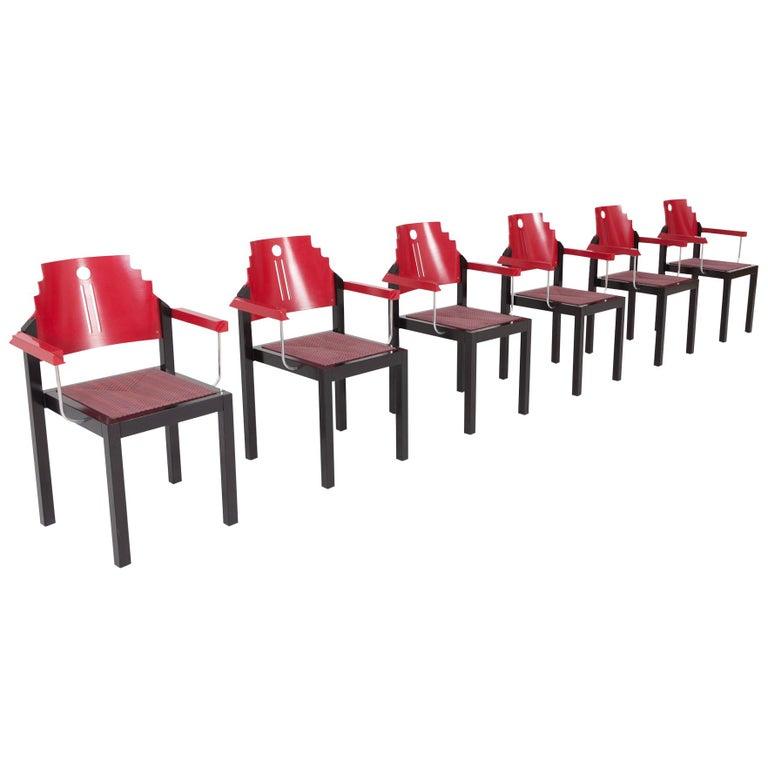 Gebrüder Thonet Vienna Memphis dining chairs, 1980, offered by Goldwood Interiors