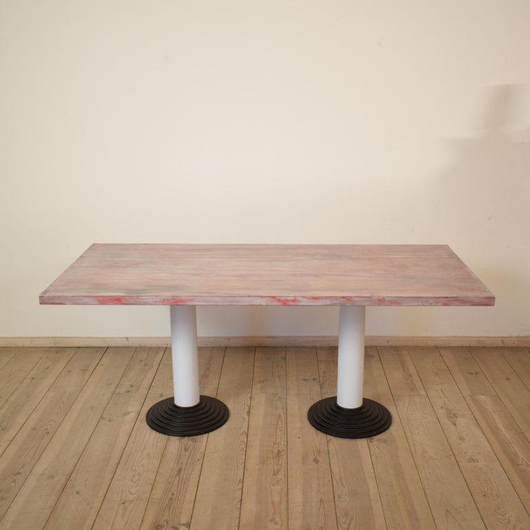 This Memphis dining table or desk was designed by Astori di Ponti for Driade in 1982. The model is called