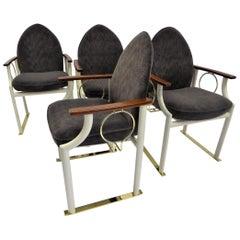 Memphis Era Arch Back Brass Sled Leg Armchairs, Denmark