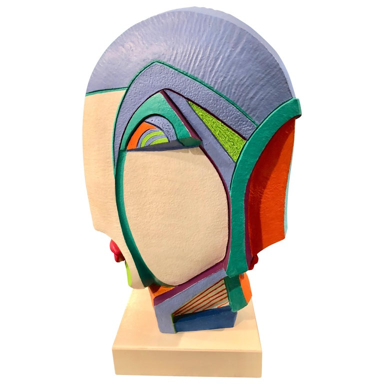 Memphis Group Style Abstract Painted Wood Sculpture by Helen Finch For Sale