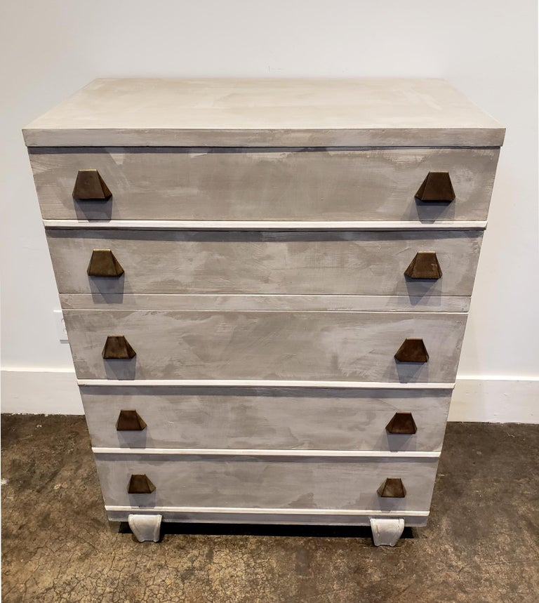 Modern Memphis Group Style Faux Concrete Chest with Brass Pulls For Sale