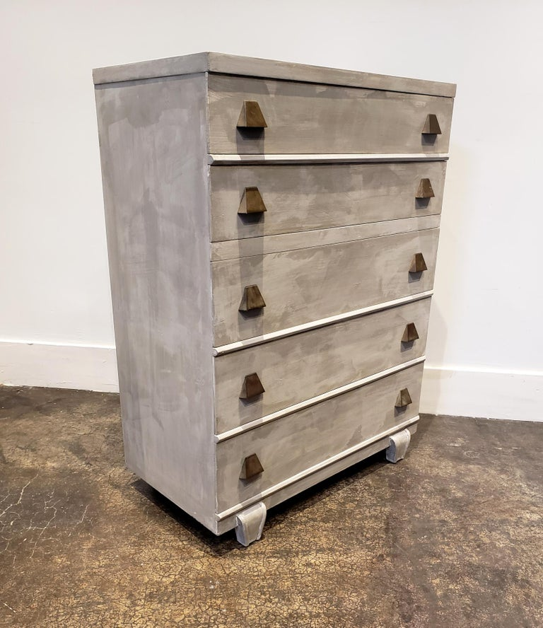 American Memphis Group Style Faux Concrete Chest with Brass Pulls For Sale