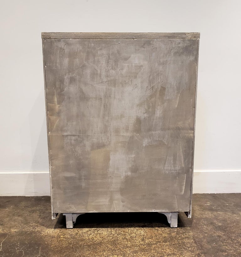 Memphis Group Style Faux Concrete Chest with Brass Pulls For Sale 2