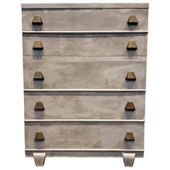 Memphis Group Style Faux Concrete Chest with Brass Pulls