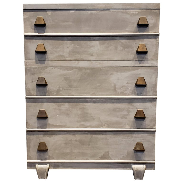 Memphis Group Style Faux Concrete Chest with Brass Pulls For Sale