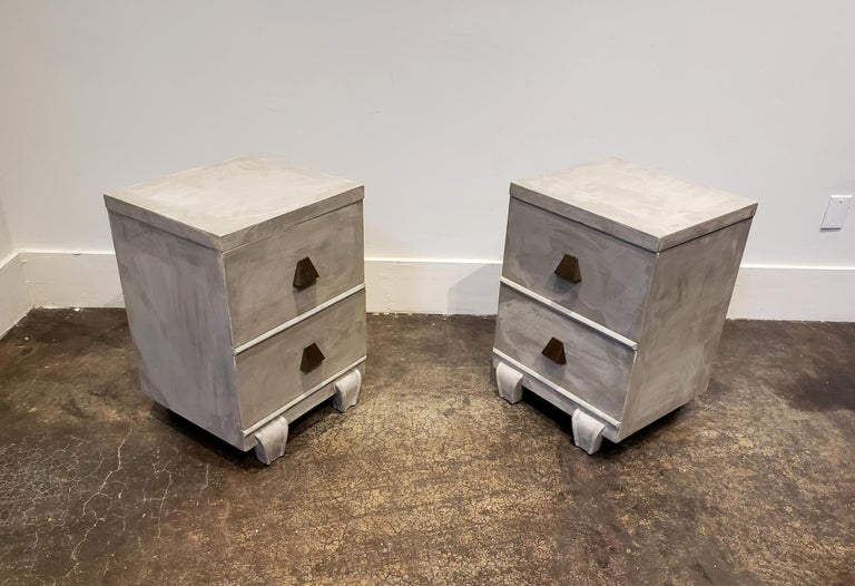 Modern Memphis Group Style Faux Concrete Nightstands with Brass Pulls For Sale