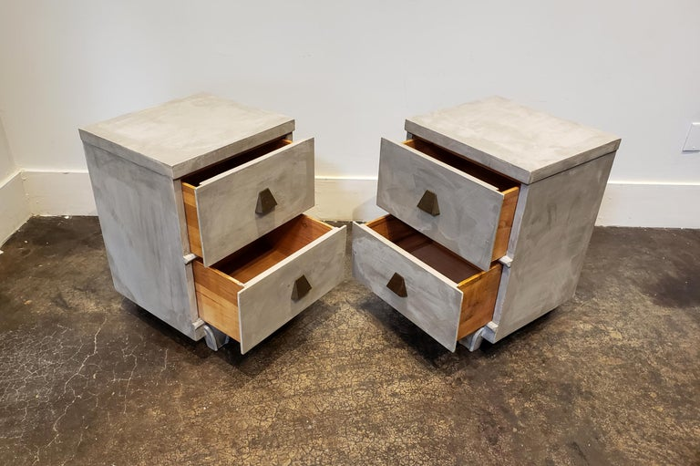 American Memphis Group Style Faux Concrete Nightstands with Brass Pulls For Sale