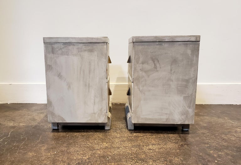 20th Century Memphis Group Style Faux Concrete Nightstands with Brass Pulls For Sale