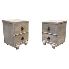 Memphis Group Style Faux Concrete Nightstands with Brass Pulls