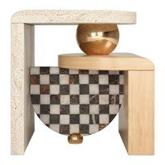 Memphis-Inspired Bohld Side Table Travertine Oak Calactta Black and Gold Marble