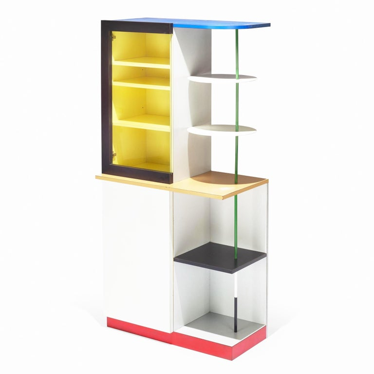 Memphis Milano Airport Cabinet by Gerard Taylor, 1982, De Stijl inspired and extremely rare even among the already rare Memphis Milano original run production. 1982 second collection of Memphis. I believe this piece was only in production for that
