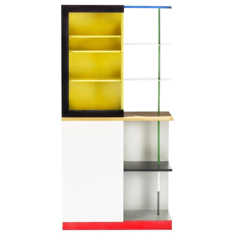 Memphis Milano Airport Cabinet by Gerard Taylor 1982, De Stijl, Red Yellow Blue For Sale