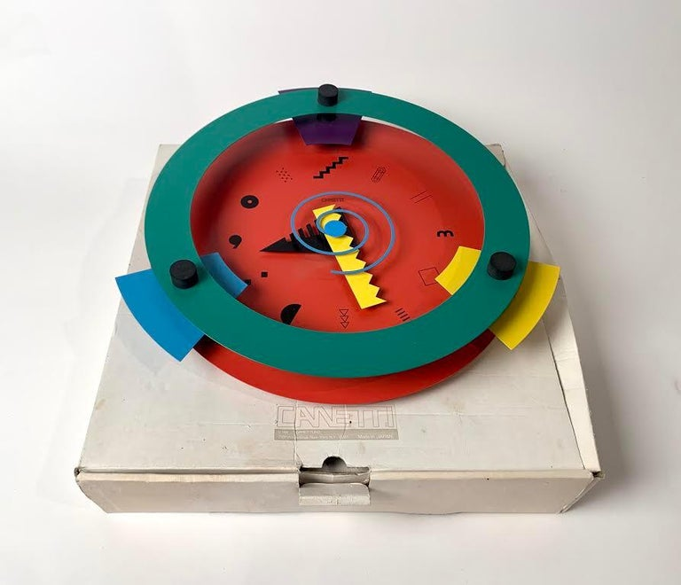 Mid-Century Modern Memphis Period Clock by Nicolai Canetti For Sale