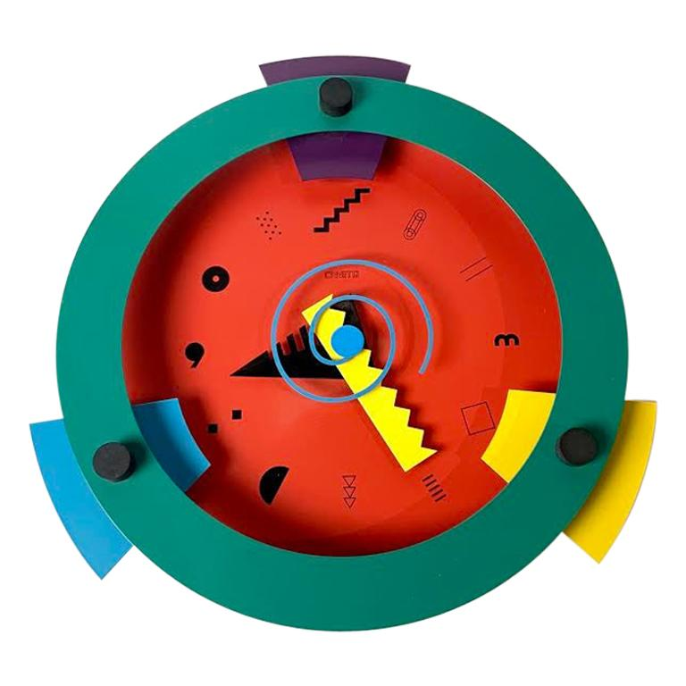 Memphis Period Clock by Nicolai Canetti For Sale