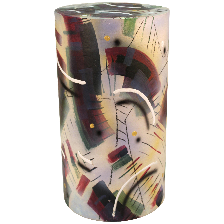 Memphis Postmodern Painted Ceramic Pedestal or Side Table