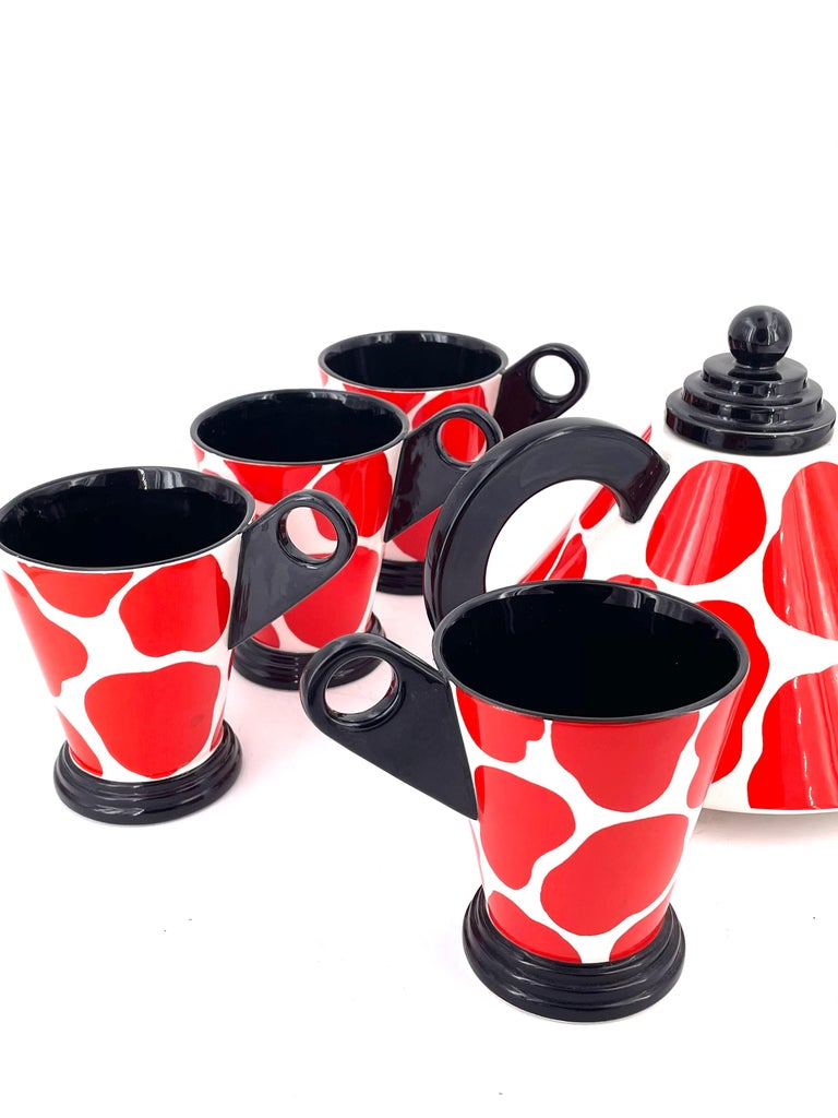 Post-Modern Memphis Postmodern Porcelain Teapot and Cups by Fitz & Floyd, 1985 For Sale