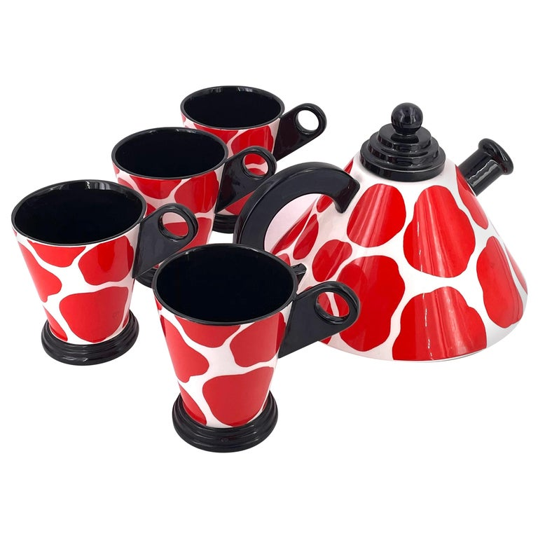 Memphis Postmodern Porcelain Teapot and Cups by Fitz & Floyd, 1985 For Sale