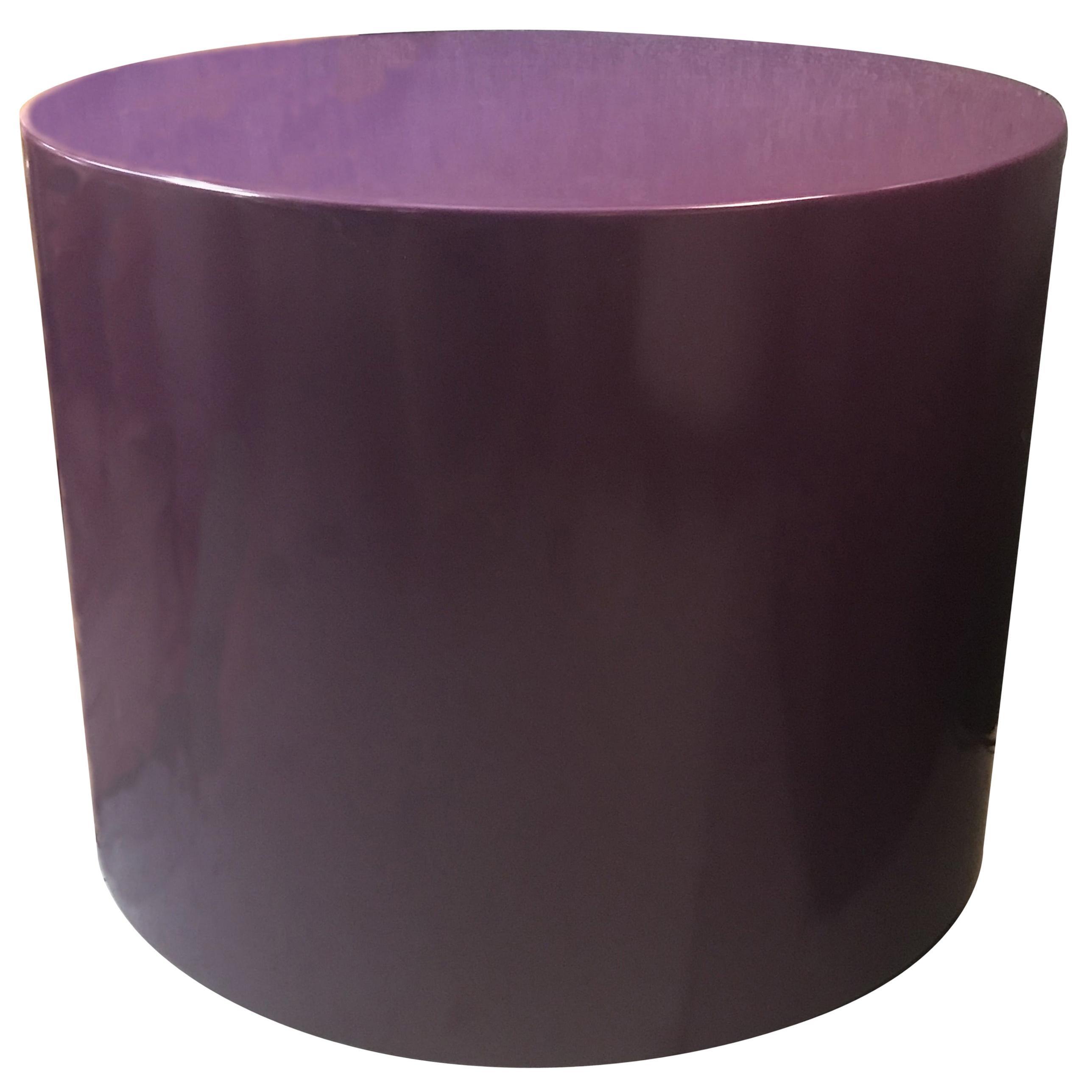 Memphis Purple Lacquer Swivel Pedestal or Side Table