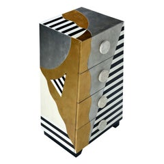 Memphis Sottsass Style Silver and Gold Foil Pyramidal Dresser Chest of Drawers