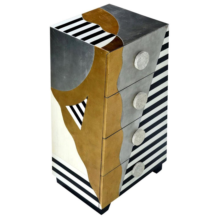 Memphis Sottsass Style Silver and Gold Foil Pyramidal Dresser Chest of Drawers For Sale