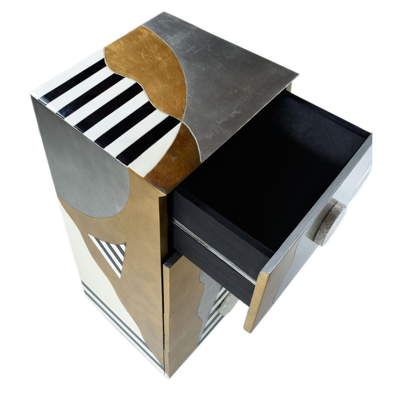 Memphis Sottsass Style Silver and Gold Foil Pyramidal Dresser Chest of Drawers In Excellent Condition For Sale In Saint Petersburg, FL