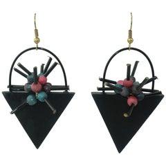 Memphis Style Atomic Wood Dangle Earrings, 1980's