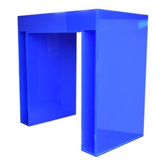 Memphis Style Blue Acrylic Desk or Console Table Attributed to Memphis Group