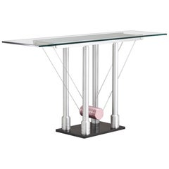 Memphis Style Brushed Steel Console Table, 1980s