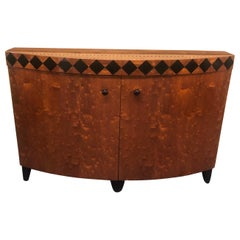 Memphis Style Burlwood Laquered Credenza / Cabinet by Pace Collection