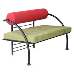 Memphis Style Green Red Geometric Italian Seat Sofa, Italy, 1980