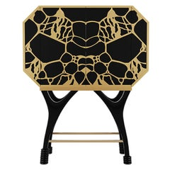 21th Century Butterfly Bar Cabinet in Black & Gold Details