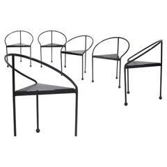 Memphis Style Metallic Tripod Chairs, Italy, 1980