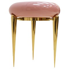 Memphis Style Modern Pink Lacquered and Brass German Coffee Table