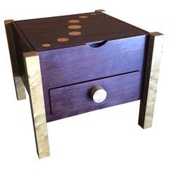 Memphis Style Postmodern Mixed Wood Jewelry Box with Drawer