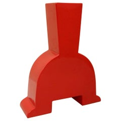 Memphis Style Red Ceramic Vase, Italy by Florio keramia