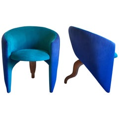 Memphis Style Sculptural Curved Three-Leg Modern Lounge Armchairs, 1980s