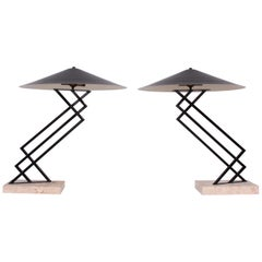 Memphis Style Table Lamps With Travertine Base