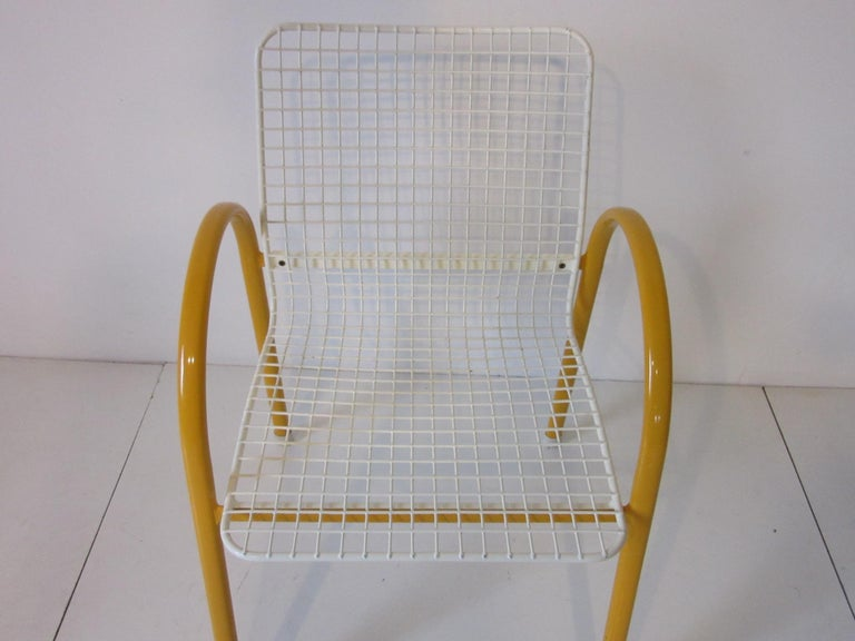 20th Century Memphis Styled Italian Stacking Wire Dining Chairs by EMU For Sale