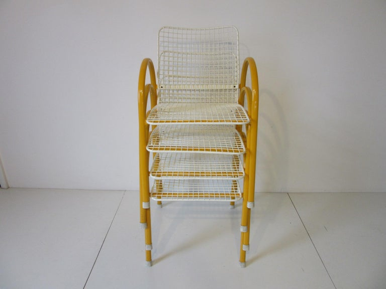 Memphis Styled Italian Stacking Wire Dining Chairs by EMU For Sale 4