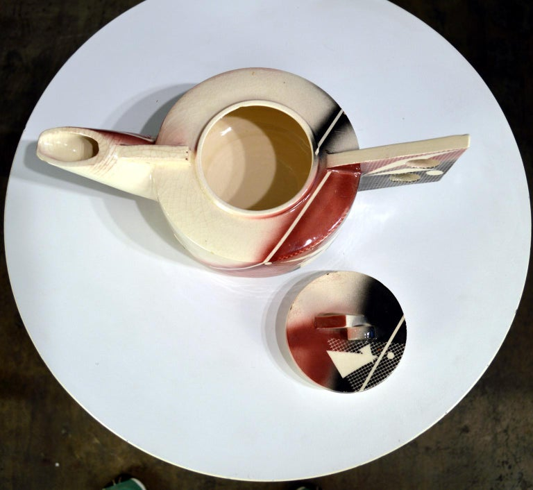 Post-Modern Porcelain Teapot dated 1984 In Good Condition For Sale In Portland, ME