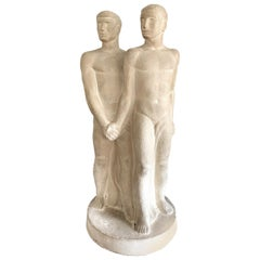 """Men Clasping Hands,"" Unique Art Deco Sculpture of Nude Male Couple"
