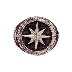 Men Compass Ring, Sterling Silver Northstar Compass Ring