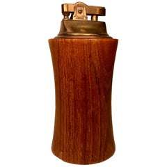 Men Era Teak and Brass Mid-Century Modern Table Lighter