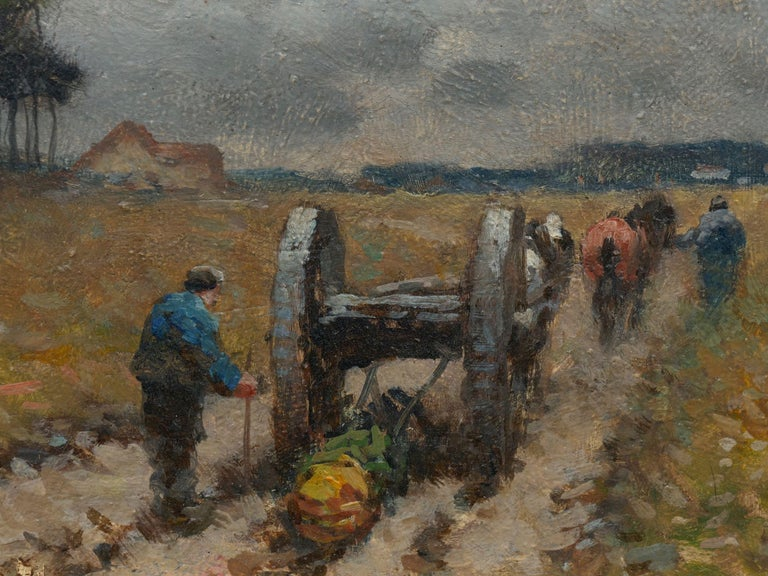 """""""Men Hauling Logs"""" Antique American Barbizon Oil Painting by Frank Russell Green For Sale 4"""