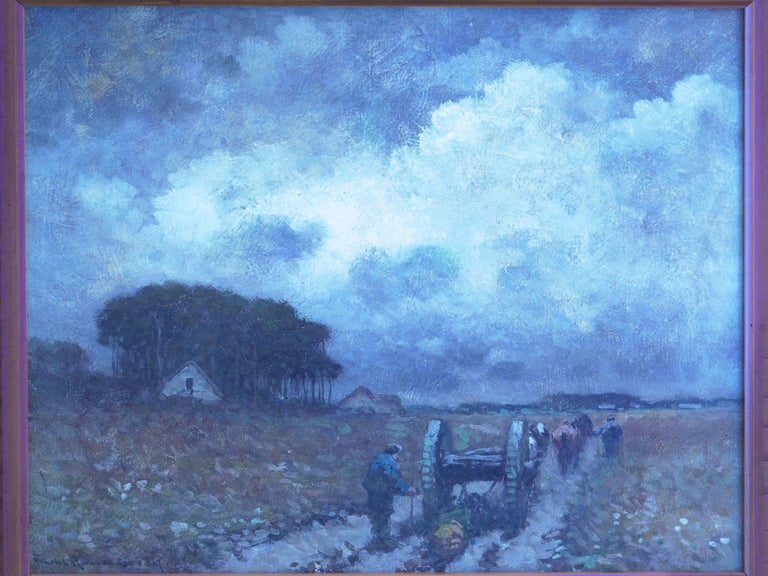 """""""Men Hauling Logs"""" Antique American Barbizon Oil Painting by Frank Russell Green For Sale 8"""