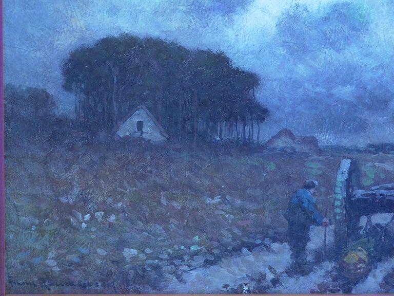 """""""Men Hauling Logs"""" Antique American Barbizon Oil Painting by Frank Russell Green For Sale 9"""