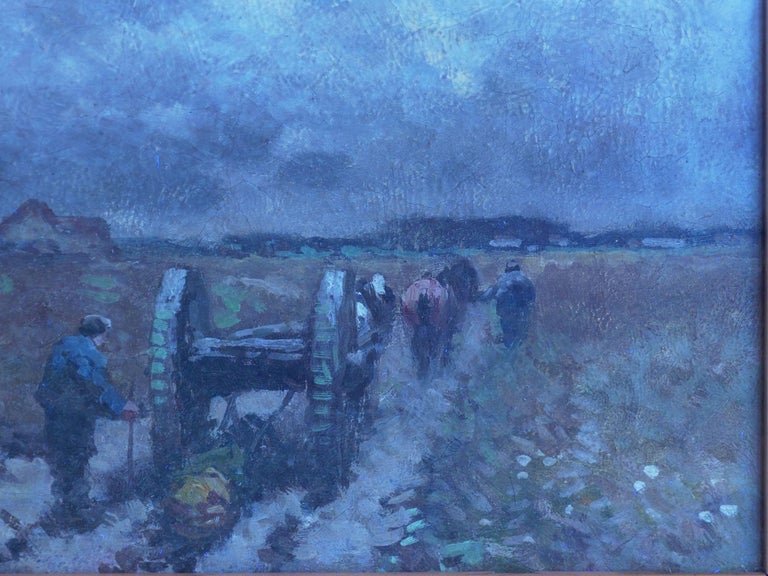 """""""Men Hauling Logs"""" Antique American Barbizon Oil Painting by Frank Russell Green For Sale 10"""