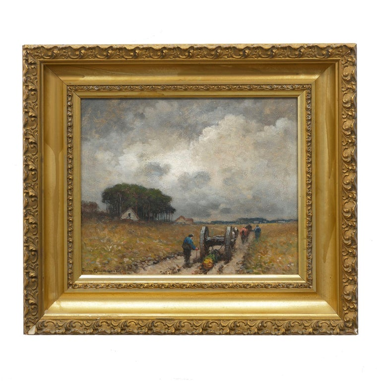 A delightful Barbizon scene that captures the results of a hard day's labor as two men lead their horses, dragging logs down the well worn path through a flowering field. It is striking with an overall low-saturation palette in the gray sky and deep