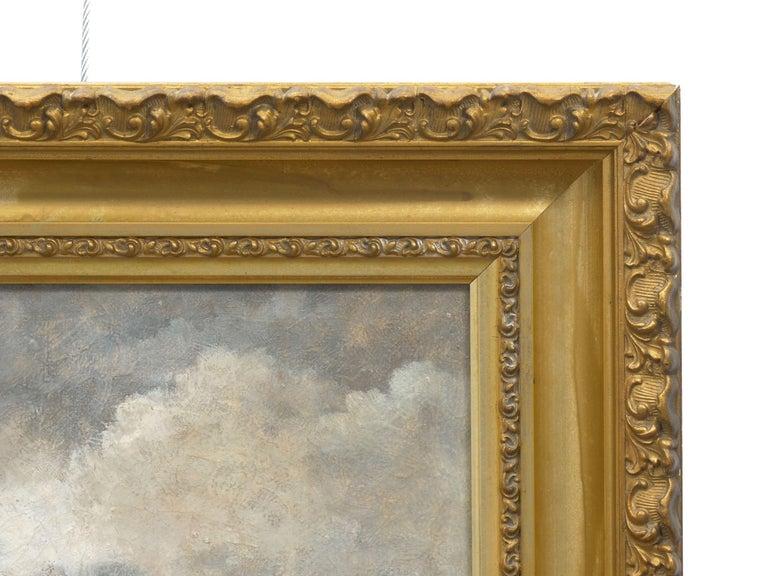 "Barbizon School ""Men Hauling Logs"" Antique American Barbizon Oil Painting by Frank Russell Green For Sale"